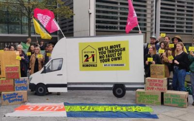 Moving in to the ministry: End Unfair Evictions campaign take Section 21 removal van to MCHLG